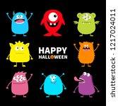 happy halloween. cute monster... | Shutterstock . vector #1217024011