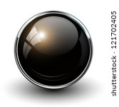 black shiny button with... | Shutterstock .eps vector #121702405