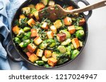 brussel sprouts with spinach... | Shutterstock . vector #1217024947
