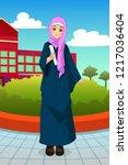 a vector illustration of muslim ...   Shutterstock .eps vector #1217036404