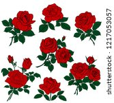 silhouettes of rerd roses and...   Shutterstock .eps vector #1217053057