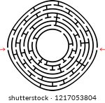 black round maze with a place... | Shutterstock .eps vector #1217053804