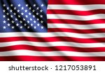 waving flag of united states.... | Shutterstock .eps vector #1217053891