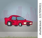 car. cartoon hand drawn vector... | Shutterstock .eps vector #1217054311