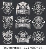 vintage firefighter logos... | Shutterstock .eps vector #1217057434
