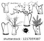 rustic pitcher vase. vector... | Shutterstock .eps vector #1217059387