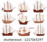 flat vector set of old wooden...   Shutterstock .eps vector #1217065297