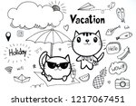 set of hand drawn vacation and... | Shutterstock . vector #1217067451