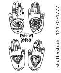 set of tattooed hands  doodle... | Shutterstock .eps vector #1217074777
