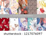 collection of seamless patterns....   Shutterstock .eps vector #1217076097