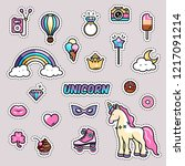 unicorn magic rainbow vector... | Shutterstock .eps vector #1217091214