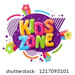 kids zone cartoon inscription... | Shutterstock .eps vector #1217093101