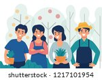 group of young organic farmer... | Shutterstock .eps vector #1217101954