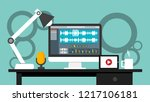 workplace of sound and video... | Shutterstock .eps vector #1217106181