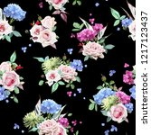 seamless floral pattern with... | Shutterstock .eps vector #1217123437