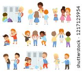 kids bullying the weaks set ... | Shutterstock .eps vector #1217125954