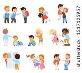 kids bullying the weaks set ... | Shutterstock .eps vector #1217125957
