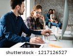 young architects working on... | Shutterstock . vector #1217126527