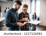 portrait of architects having... | Shutterstock . vector #1217126581