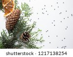 wreath of spruce and thuja... | Shutterstock . vector #1217138254