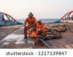 seamen ab or bosun on deck of... | Shutterstock . vector #1217139847