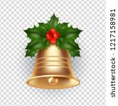 golden metal bell with holly... | Shutterstock .eps vector #1217158981