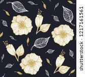 seamless pattern with flowers... | Shutterstock .eps vector #1217161561