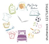 kids daily routine time...   Shutterstock .eps vector #1217169541