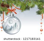 vector christmas fir tree with... | Shutterstock .eps vector #1217183161