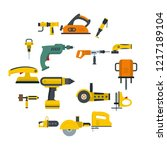 electric tools icons set in... | Shutterstock . vector #1217189104