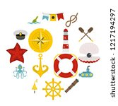 nautical icons set in flat... | Shutterstock . vector #1217194297