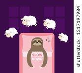 cute sloth sleeping sign zzz.... | Shutterstock .eps vector #1217197984