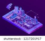 3d isometric smart city on... | Shutterstock . vector #1217201917