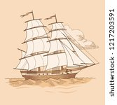sailing ship in vintage style.... | Shutterstock .eps vector #1217203591