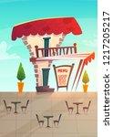 street restaurant cafe of... | Shutterstock .eps vector #1217205217