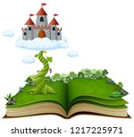story book with magic beanstalk ... | Shutterstock . vector #1217225971