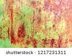 rusty painted metal texture ...   Shutterstock . vector #1217231311
