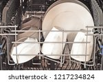 dishwasher with clean plates... | Shutterstock . vector #1217234824