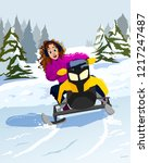 young girl ride on snowmobile...   Shutterstock .eps vector #1217247487