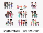 cute families isolated vector... | Shutterstock .eps vector #1217250904