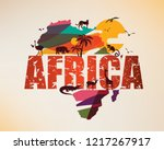 africa travel map  decorative... | Shutterstock .eps vector #1217267917
