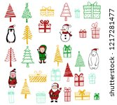 hand drawn set of christmas... | Shutterstock .eps vector #1217281477