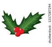 holly berry leaves decorative... | Shutterstock .eps vector #1217287294