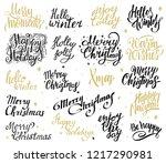 christmas lettering set. merry... | Shutterstock .eps vector #1217290981