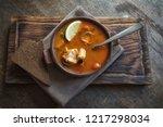 marmitako soup in a ceramic... | Shutterstock . vector #1217298034