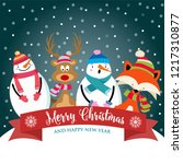christmas card with cute... | Shutterstock .eps vector #1217310877