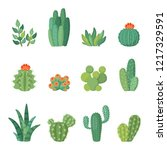 cartoon colorful cactus and... | Shutterstock .eps vector #1217329591