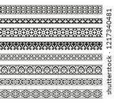 Decorative seamless borders vintage design elements set