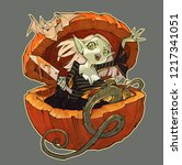 cartoon original spooky and...   Shutterstock . vector #1217341051