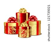 red and gold gift boxes. | Shutterstock . vector #121735021